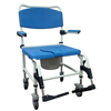 Drive Medical Bariatric Aluminum Rehab Shower Commode Chair with Two Rear-Locking Casters DRV NRS185008