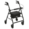 Drive Medical Walker Rollator with 6 Wheels, Fold Up Removable Back Support, and Padded Seat R726BK