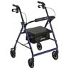 Drive Medical Walker Rollator with 6 Wheels, Fold Up Removable Back Support, and Padded Seat R726BL