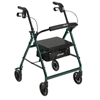 Drive Medical Walker Rollator with 6 Wheels, Fold Up Removable Back Support, and Padded Seat R726GR