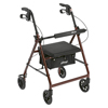 Drive Medical Walker Rollator with 6 Wheels, Fold Up Removable Back Support, and Padded Seat R726RD