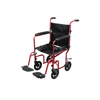 Drive Medical Flyweight Lightweight Transport Wheelchair with Removable Wheels, Red RTLFW19RW-RD