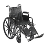 "Rehabilitation: Drive Medical - Silver Sport 2 Wheelchair, Detachable Desk Arms, Elevating Leg Rests, 18"" Seat"