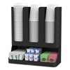 condiment organizer: Mind Reader Flume 6-Compartment Upright Coffee Condiment and Cups Organizer