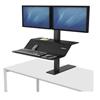 "computer workstations: Lotus VE Sit-Stand Workstation - Dual, 32.3125"" x 25.25"" x 22.35"", Black"