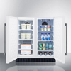 summit appliance: Summit Appliance - Frost-Free Side-By-Side Refrigerator-Freezer for Built-In or Freestanding Use, White Finish with Locks, Stainless Steel Handles & Digital Controls