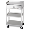 Fabrication Enterprises Mobile Stand - Stainless Steel - 2-Shelf with Drawer FNT 00-4018