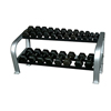 Fabrication Enterprises Inflight®65 Deluxe 2-Tier Hex DB Rack (2 x 4 Oval Tubing) with a 10 Pair (5- 50lb) Rubber Hex Dumbbell Set FNT 10-7136