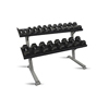 Fabrication Enterprises Inflight®69 2-Tier DB Rack - Tray Style (69 Trays) with a 10 Pair (5-50lb) Rubber Hex Dumbbell Set FNT 10-7138