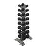Fabrication Enterprises Inflight®8- Pair Vertical DB Rack with a 8 Pair (5-40lb) Rubber Hex Dumbbell Set FNT 10-7142