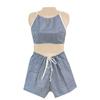 Fabrication Enterprises Dipsters® Patient Wear, Womens Bibb-Top w/Shorts, xxx-Large - Dozen FNT 20-1045