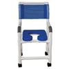 Fabrication Enterprises MJM International, Deluxe Shower Chair (18), Twin Casters (3), Blue FNT 20-4234
