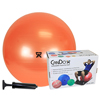 "IV Supplies Pump Sets: Fabrication Enterprises - CanDo® Inflatable Exercise Ball - Economy Set - Orange - 22"" (55 cm) Ball, Pump, Retail Box"