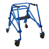 Fabrication Enterprises Klip Posterior Walker, Four Wheeled With Seat, Blue, Size  4 FNT 32-2090