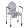 Commodes Commode Parts: Fabrication Enterprises - Commode with Drop Arms, with Wheels, Aluminum, 1 Each