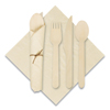 Hoffmaster® Pre-Rolled Caterwrap Kraft Napkins with Wood Cutlery