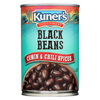 Kuner Black Beans - Cumin and Chili Spices - Case of 12 - 15 oz. HGR 0101865