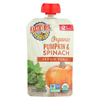 Earth's Best Organic Pumpkin and Spinach Baby Food Puree - Stage 2 - Case of 12 - 3.5 oz. HGR 01196864