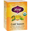 Yogi Teas Organic Cold Season Herbal Tea Caffeine Free - 16 Tea Bags - Case of 6 HGR 355040