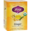 Yogi Teas Organic Herbal Tea Caffeine Free Ginger - 16 Tea Bags - Case of 6 HGR 355115