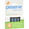 Shaving Personal Razors: Preserve - Triple Blade Refills - Case of 6 - 4 Packs