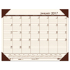 Clean and Green: EcoTones Cream/Brown Monthly Desk Pad Calendar, 18 1/2 x 13, 2019