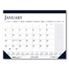 Ring Panel Link Filters Economy: Recycled Two-Color Monthly Desk Pad Calendar w/Large Notes Section, 22x17, 2019