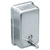 soaps and hand sanitizers: Vertical Stainless Steel Soap Dispenser 40 oz.