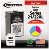 Innovera Innovera Remanufactured 330-5266 (21XL/22XL) High-Yld Ink, 340 Pg-Yld,Tri-Color IVR D22CXL