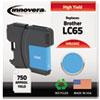 ink cartridges: Innovera Remanufactured LC65C Ink, 750 Page-Yield, Cyan