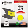 Innovera Innovera Remanufactured High-Yield LC75Y Ink, 600 Page-Yield, Yellow IVR LC75Y
