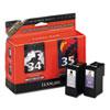 Lexmark Lexmark 18C0535 (34; 35) High-Yield, 475 Page-Yield, 2/Pack, Waterproof BLK/Photo BLK LEX 18C0535