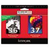 Lexmark Lexmark 18C2229 (36; 37) Ink, 175 Page-Yield, 2/Pack, Black; Color LEX 18C2229