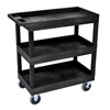 Luxor 3-Shelf High Capacity Tub Cart with Heavy Duty 5 Casters LUX EC111HD-B