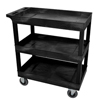 Janitorial Carts, Trucks, and Utility Carts: Luxor - Black 3 Tub Cart W/ SP5 Casters