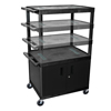 Luxor Multi-Height Endura Video Equipment Table with Cabinet LUX LELDUOC-B