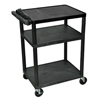 Luxor 34 Plastic Shelf Cart & Stand with Electric Surge LUX LP34E-B