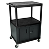 Luxor 48H AV Cart - Three Large Shelves, Cab LUX LP48C-B