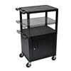 Luxor Multi-Height Endura 3-Shelf AV Cart with Cabinet LUX LPDUOC-B