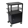 Luxor Multi-Height Endura 3-Shelf AV Cart with Cabinet & Electric LUX LPDUOCE-B