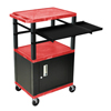 Luxor 42 Presentation Cart With Cabinet, Pullout Shelves, and Electric LUX WTPSLP42RC2E-B