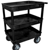 Luxor Black 3 Tub Cart W/ P8 Casters LUX TC111P8-B