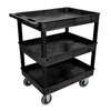 Janitorial Carts, Trucks, and Utility Carts: Luxor - Black 3 Tub Cart W/ SP6 Casters