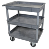Janitorial Carts, Trucks, and Utility Carts: Luxor - Gray 3 Tub Cart W/ SP6 Casters