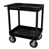 Janitorial Carts, Trucks, and Utility Carts: Luxor - Black 2 Tub Cart W/ P8 Casters