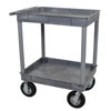 Janitorial Carts, Trucks, and Utility Carts: Luxor - Gray 2 Tub Cart W/ P8 Casters