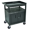 Luxor Large Tub Top and Flat Shelf Cart w/Cabinet LUXTC122C-B