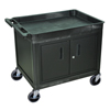 Luxor 2-Shelf Tub Cart with Locking Cabinet LUXTC12C-B