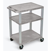 Luxor 3-Shelf Tuffy Cart - 34 Tall LUX WT34E-B-GRAY