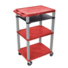 Luxor Presentation Cart with Open Shelves & Pull Out Tray LUX WTPS42RE-N